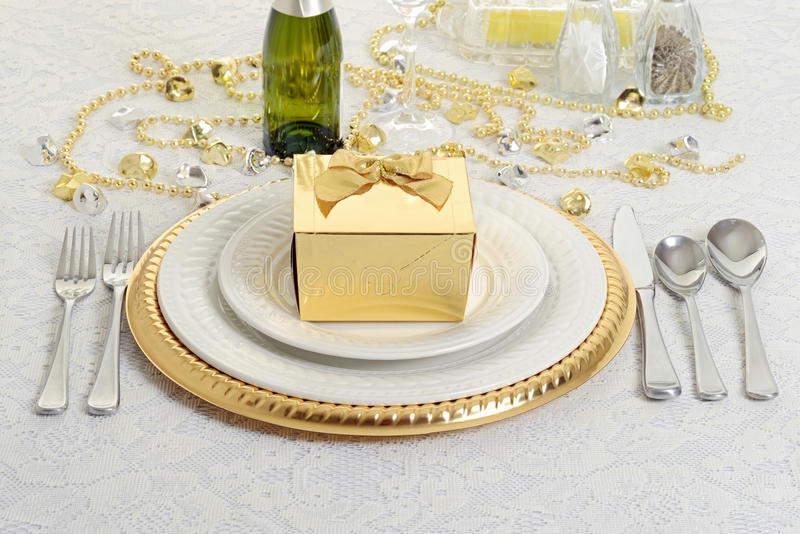 Download Silver And Gold Table Setting With Present Stock Photo - Image of beverage celebrate & Silver And Gold Table Setting With Present Stock Photo - Image of ...