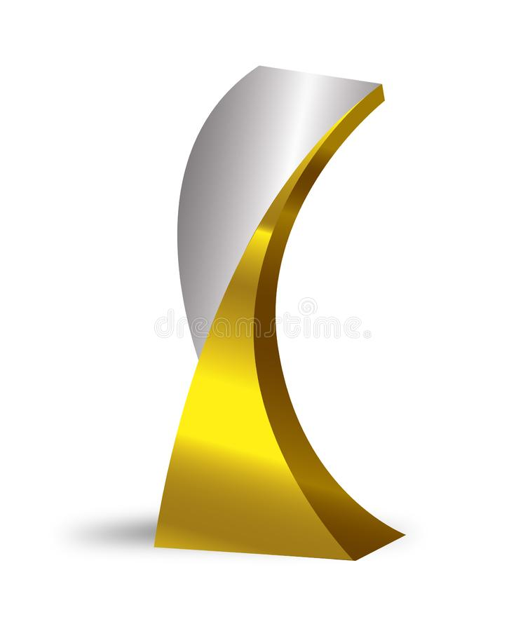 Silver and gold trophy vector illustration