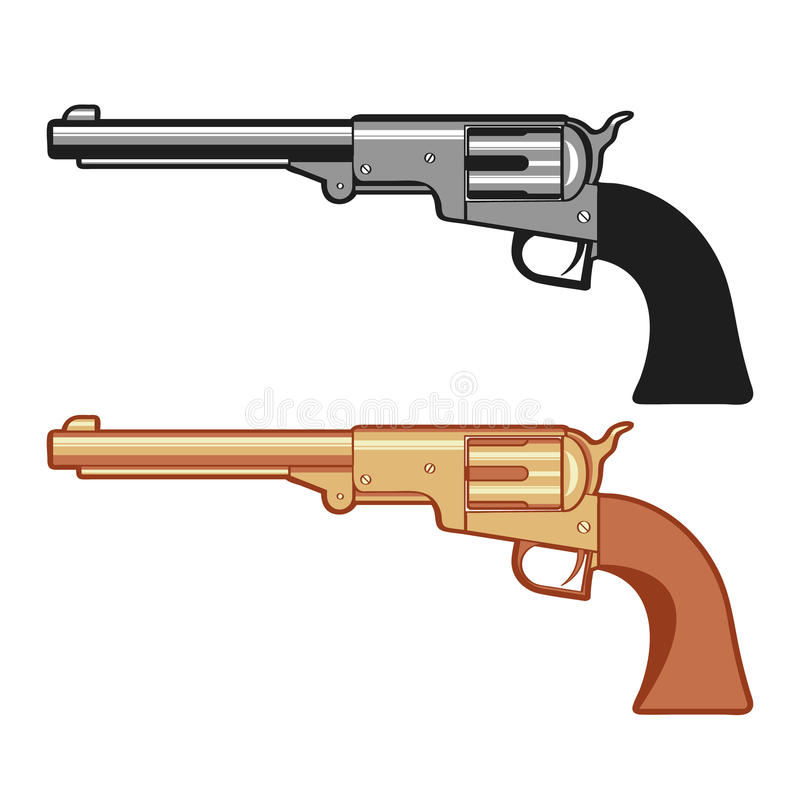 Silver and gold Vector Revolver Gun isolated on white. Silver and gold Vector Revolver Gun isolated on white, vector cartoon illustration royalty free illustration