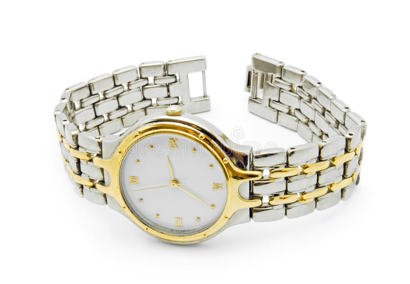 Download Silver And Gold Wrist Watch Stock Photo - Image of jewelry, white: 15915422