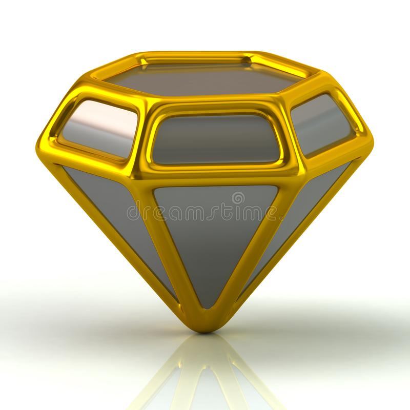 Silver and golden diamond icon. 3d illustration on white background stock illustration