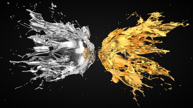 Silver and golden fluid splash on black background. 3d illustration vector illustration