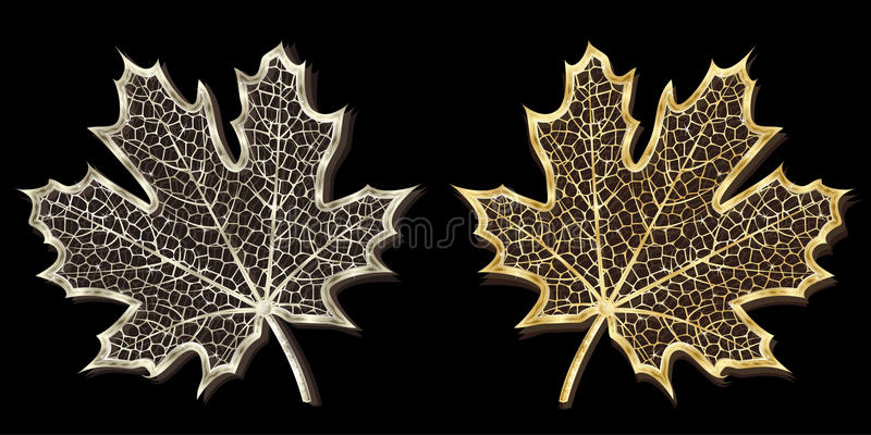 Download Silver And Golden Hand-made Maple Leaves Stock Vector - Image: 9982951