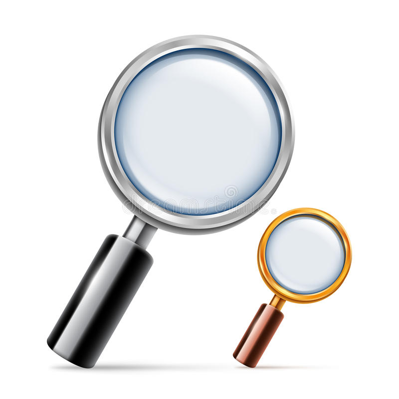 Silver and Golden Magnifying Glass royalty free illustration