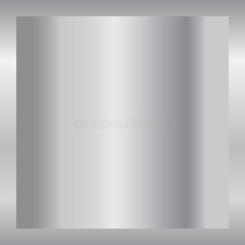 Silver gradient background. Silver design texture for ribbon, frame, banner. Abstract silver gradient template. Metal stock illustration