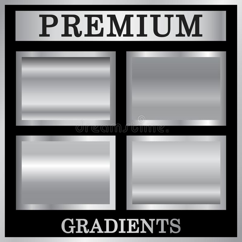 Silver gradient backgrounds set. Silver design texture for ribbon, frame, banner. Abstract silver gradient template stock illustration