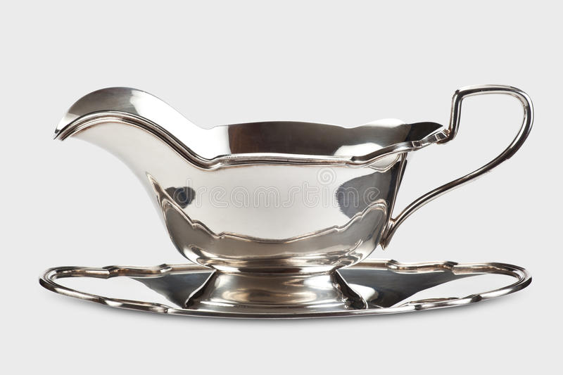 Silver gravy boat royalty free stock photography
