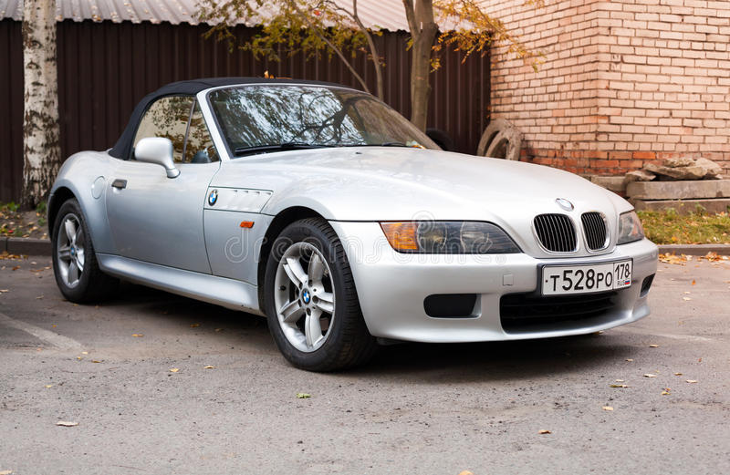 Silver gray BMW Z3 car with convertible roof royalty free stock image