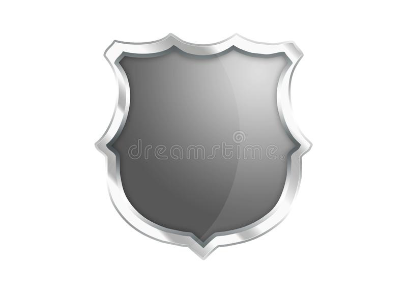 Silver Gray shield icon isolated on white background.  royalty free illustration