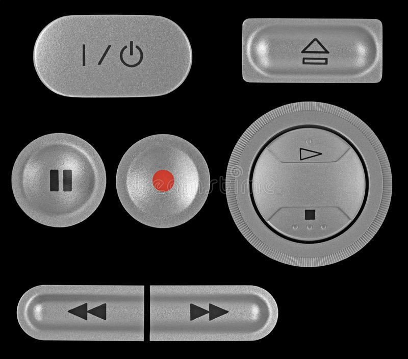 Silver grey DVD recorder buttons set isolated. Natural silver grey metallic DVD recorder buttons set, isolated macro closeup stock photo