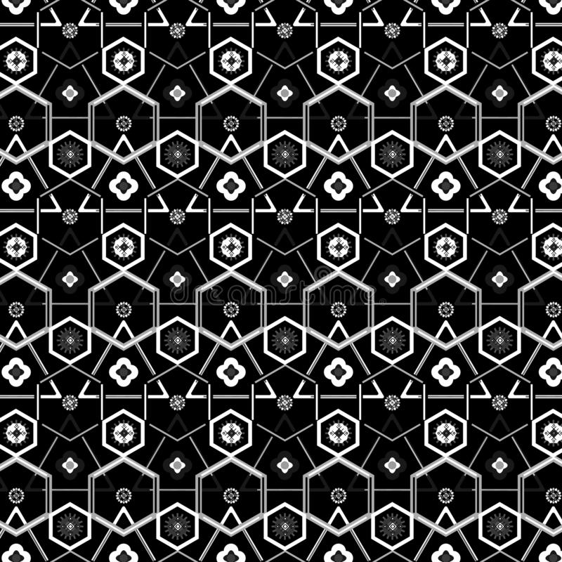 Silver grey geometric modern repeating pattern over black background royalty free illustration