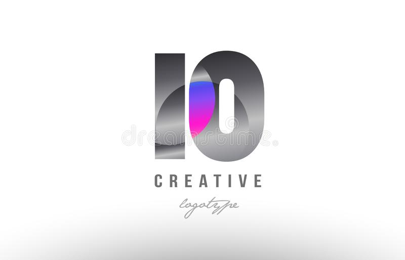 10 silver grey metal metallic gradient number logo icon design. Design of number 10 silver grey metal metallic gradient color suitable as a logo for a company or stock illustration