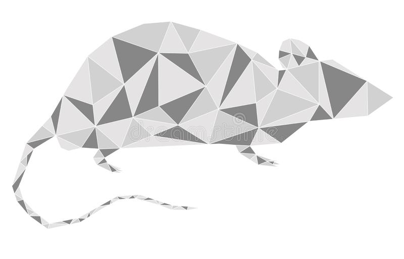 Silver grey metallic rat geometric outline looking right. Animal geometric triangle outline in white background. For New Year 2020. Concepts: chinese new year royalty free illustration