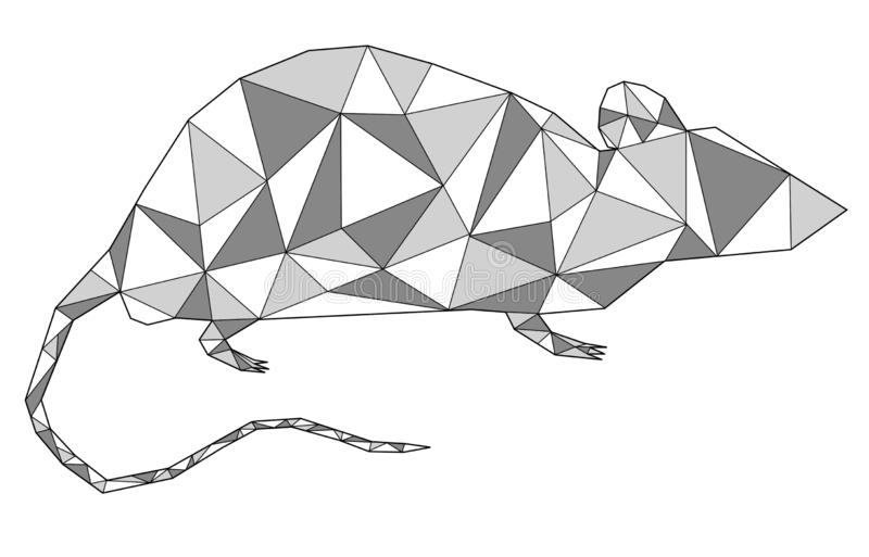 Silver grey metallic rat geometric outline looking right. Animal geometric triangle outline in white background. For New Year 2020. Concepts: chinese new year stock illustration