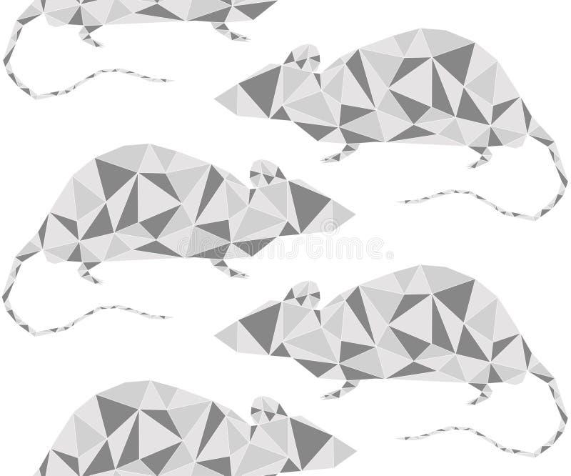 Silver grey metallic rat geometric outline looking rightand left. Animal geometric triangle outline seamless pattern on white. Silver grey metallic rat geometric vector illustration