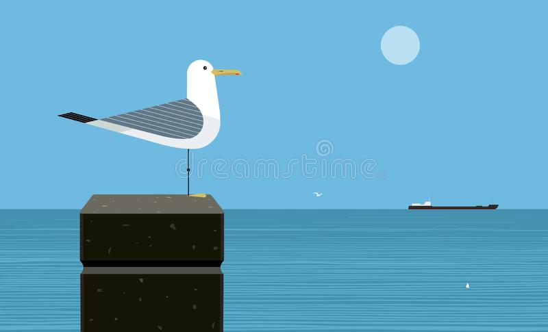 Silver gull. Or herring gull on sea background royalty free illustration
