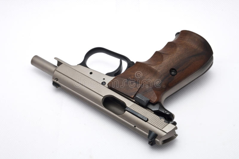 Silver gun out of ammo stock image