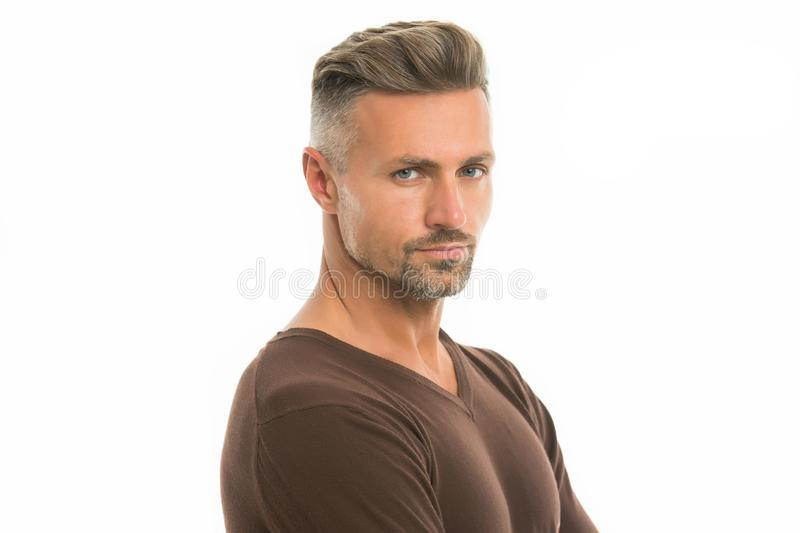 Silver hair shampoo. Anti ageing. Grizzle hair suits him. Deal with gray roots. Man attractive well groomed facial hair. Barber shop concept. Barber and royalty free stock images