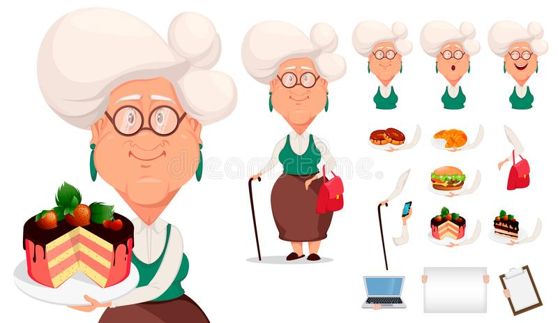Silver haired grandma, pack of body parts, emotions and things. stock illustration