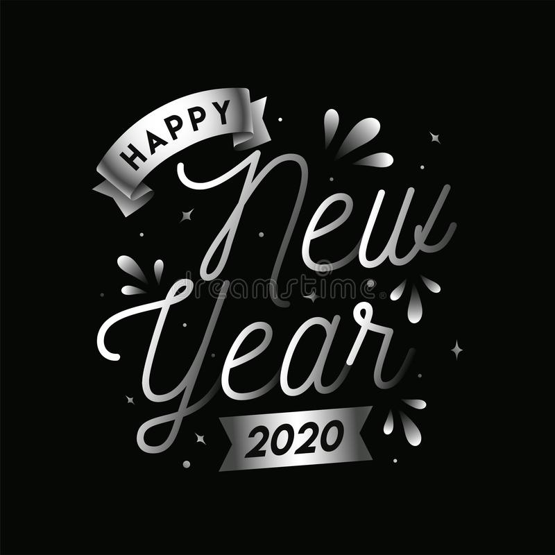 Silver Happy New Year 2020 Text vector illustration