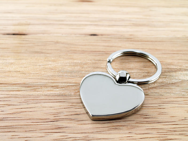 Silver Heart Key Chain On Wood Stock Image Image Of Symbol Bright