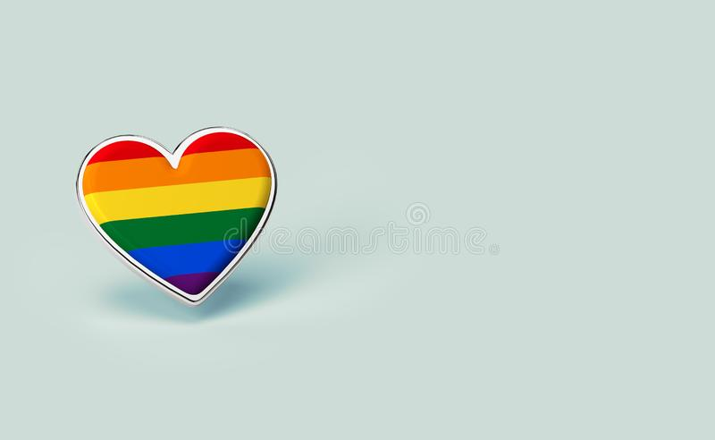 Silver heart with rainbow inside. Right to love for everyone concept. Isolated on pastel green background with copy space. 3D. Render royalty free illustration