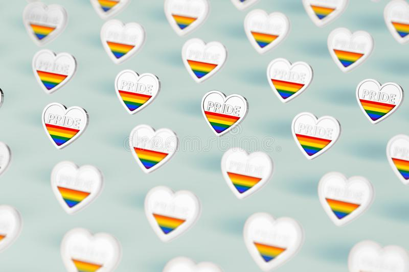 Silver heart with rainbow and word PRIDE inside. Month of pride concept.  on pastel green background. 3D rendering stock illustration