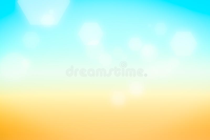 Silver hexagon bokeh on summer background blurred light, Abstract blurred gradient background in bright colors. stock illustration