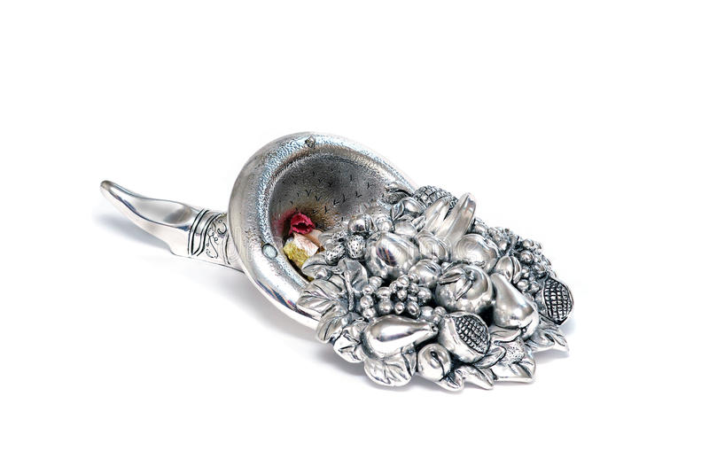 Silver horn of plenty royalty free stock images