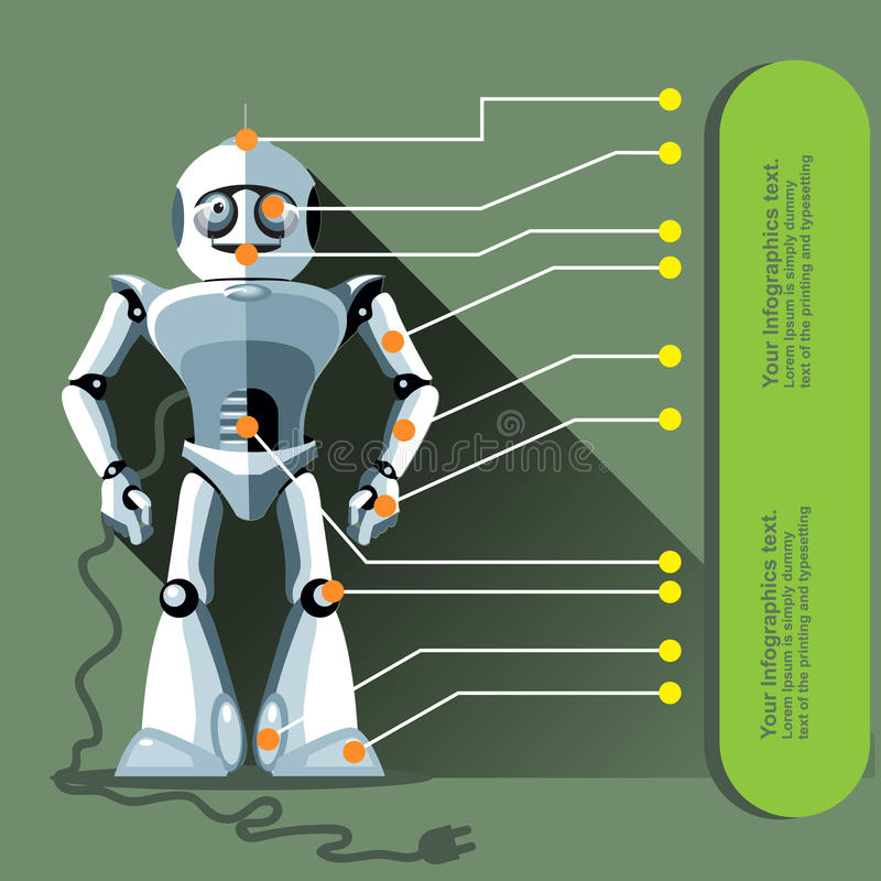 Silver humanoid robot displayed as an infographic vector illustration