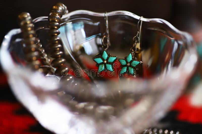 Silver Indian jewelry with turquoise, earring and necklace stock photography