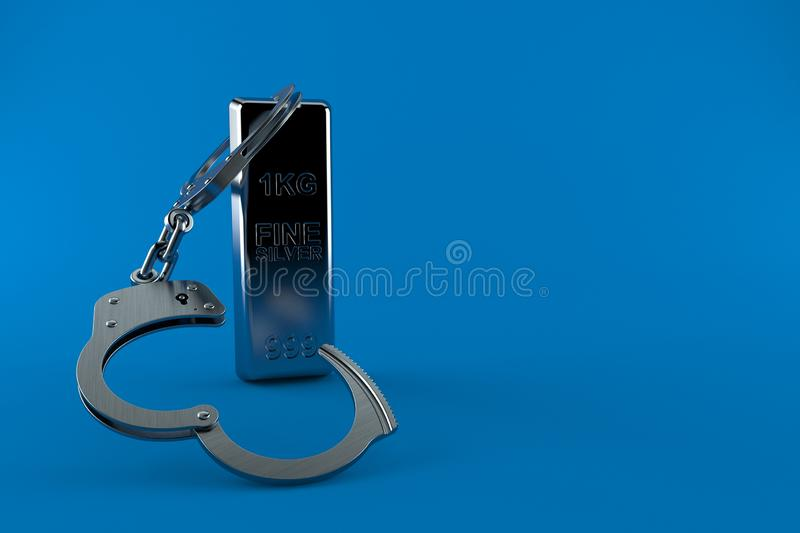 Silver ingot with handcuffs. Isolated on blue background. 3d illustration stock illustration