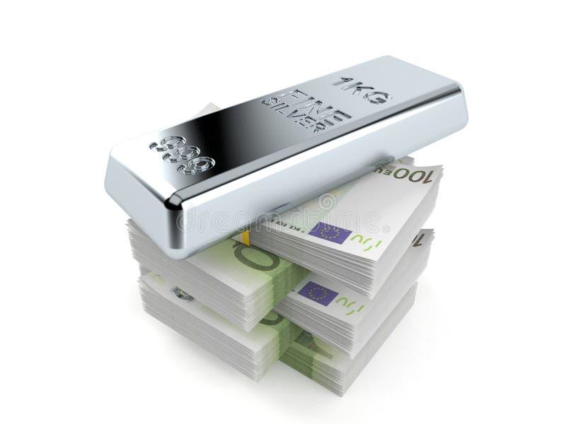 Silver ingot on stack of money royalty free illustration