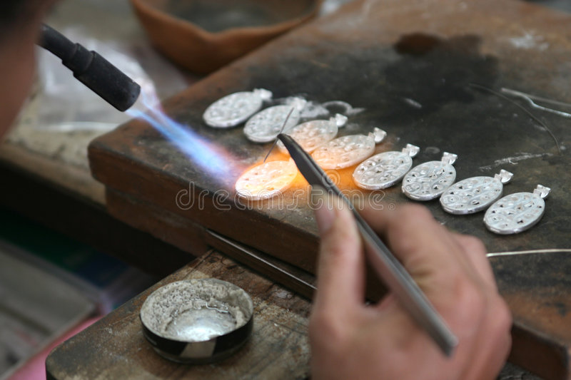 Silver Jewellery. Hand make silver Jewellery in Bali Indonesia stock image