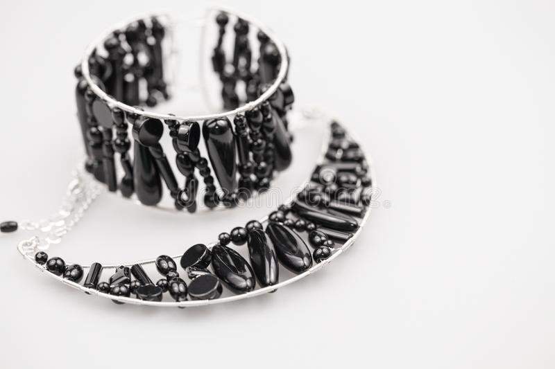Silver jewels with onyx stones royalty free stock image