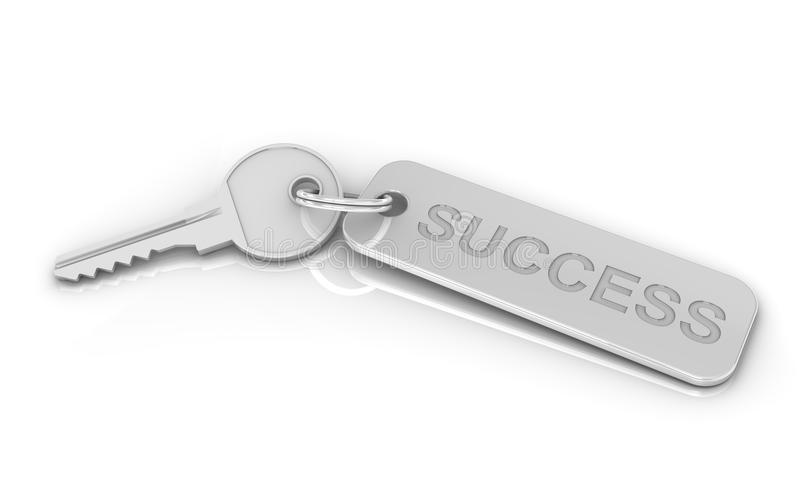 Silver Key to Success. On a white background. Image concept and part of a series stock illustration