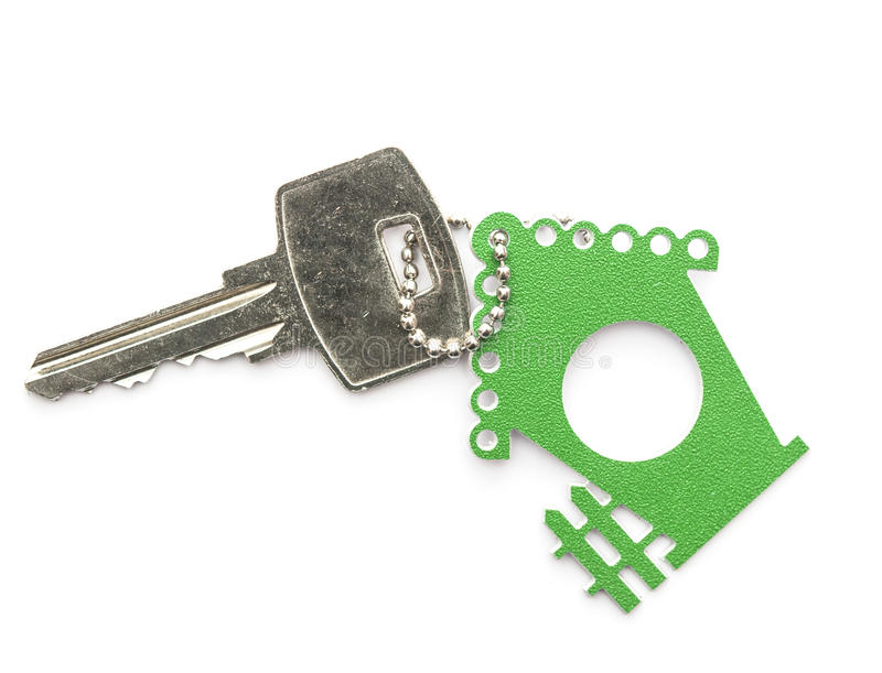 Silver keys with house figure stock image
