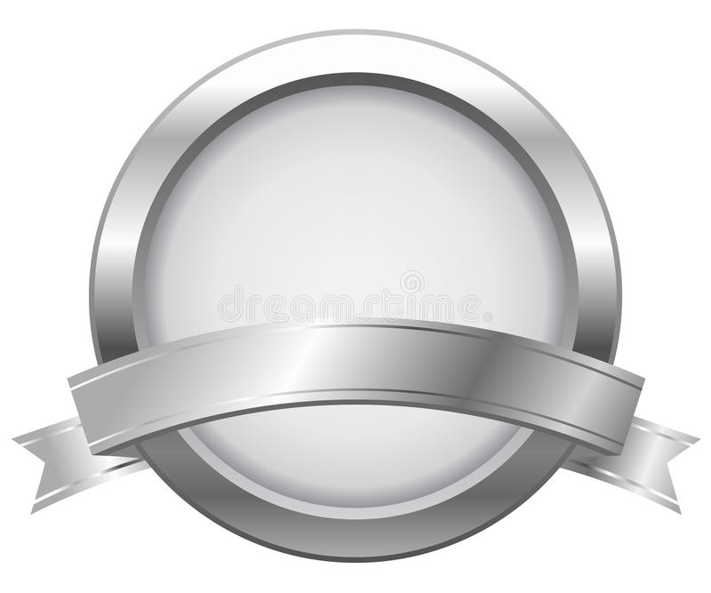 Silver label with ribbon royalty free illustration