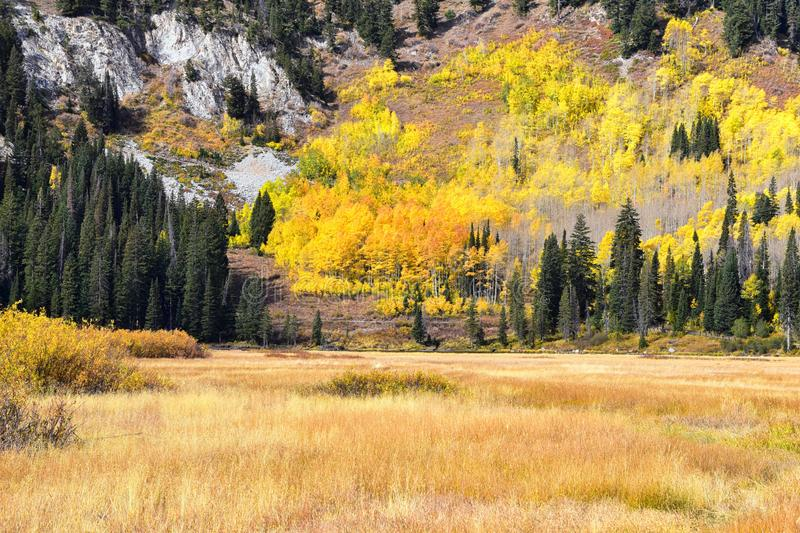 Silver Lake by Solitude and Brighton Ski resort in Big Cottonwood Canyon. Panoramic Views from the hiking and boardwalk trails of. The surrounding mountains stock photography