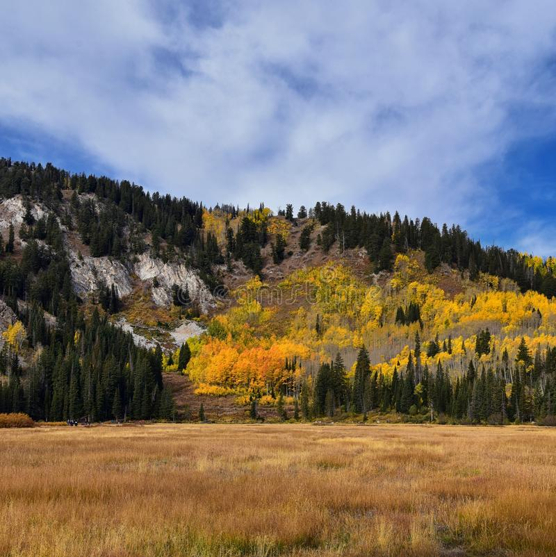 Silver Lake by Solitude and Brighton Ski resort in Big Cottonwood Canyon. Panoramic Views from the hiking and boardwalk trails of. The surrounding mountains stock image