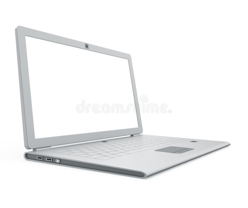 Download Silver laptop angle view stock illustration. Illustration of monitor - 18044731