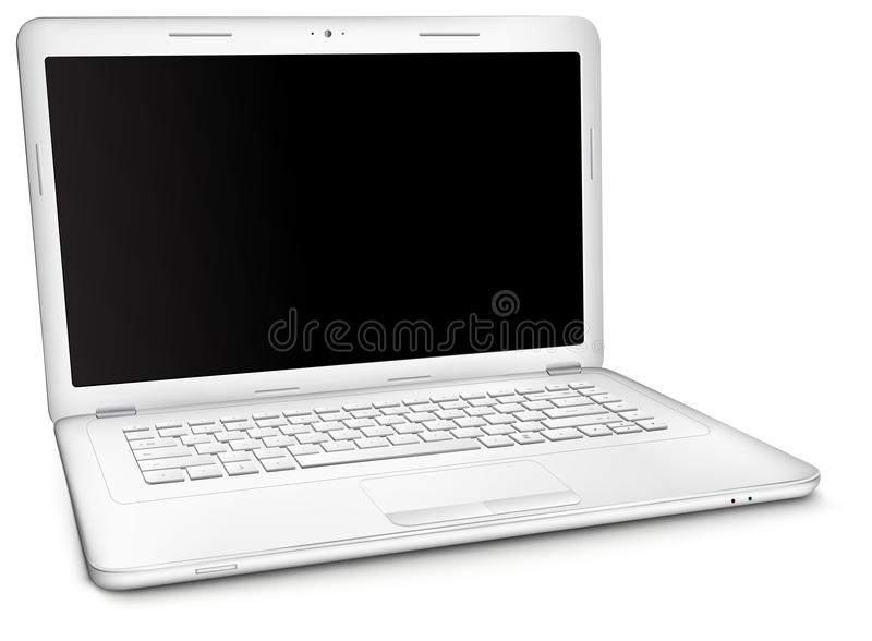 Silver laptop with black blank screen. Silver laptop with copy space at black blank screen, on white background. Three-quarter view stock illustration