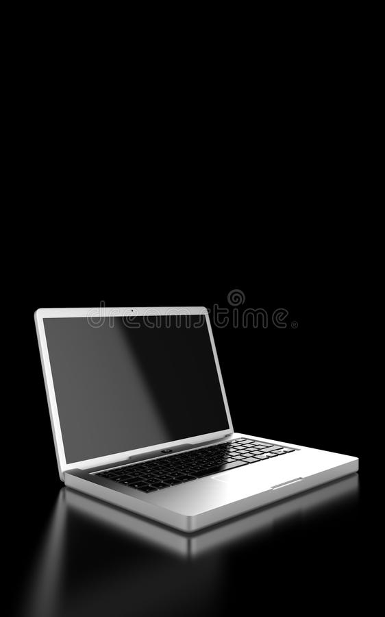 Silver laptop computer. Open silver laptop computer showing the screen and keyboard, on a reflective surface, black background royalty free stock image