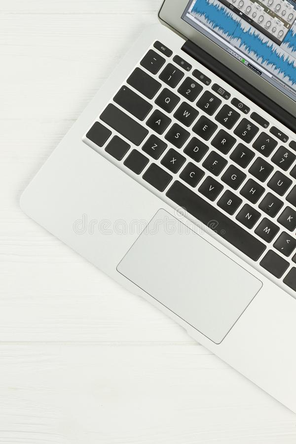 Silver laptop on white background. royalty free stock photos