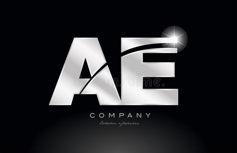 Silver letter ae a e metal combination alphabet with grey color on black background logo. Silver letter ae a e metal combination alphabet logo icon design with royalty free illustration