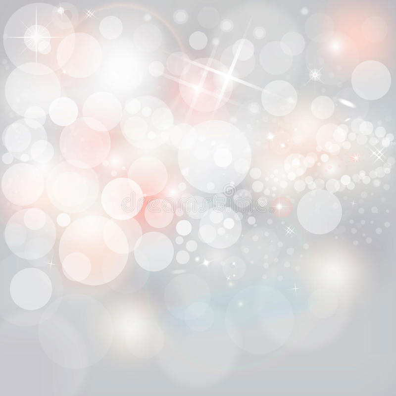Silver Lights & Stars On Neutral Grey Christmas Holiday Background stock illustration