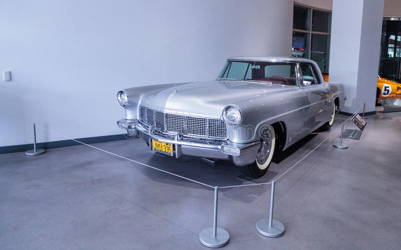 Silver 1957 Lincoln Continental Mark II. Los Angeles, CA, USA — March 4, 2017: Silver 1957 Lincoln Continental Mark II at the Petersen Automotive Museum stock photo