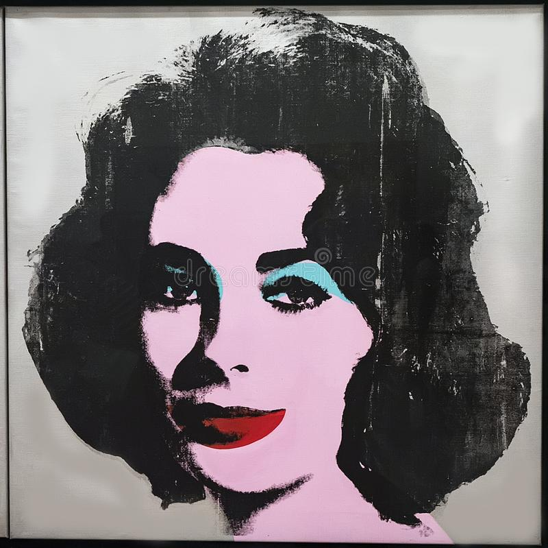 Andy Warhol--From A To B And Back Again at Whitney Museum. Silver Liz from 1963, a silkscreen ink, and acrylic, and spray paint on linen, by Andy Warhol, was on stock photos