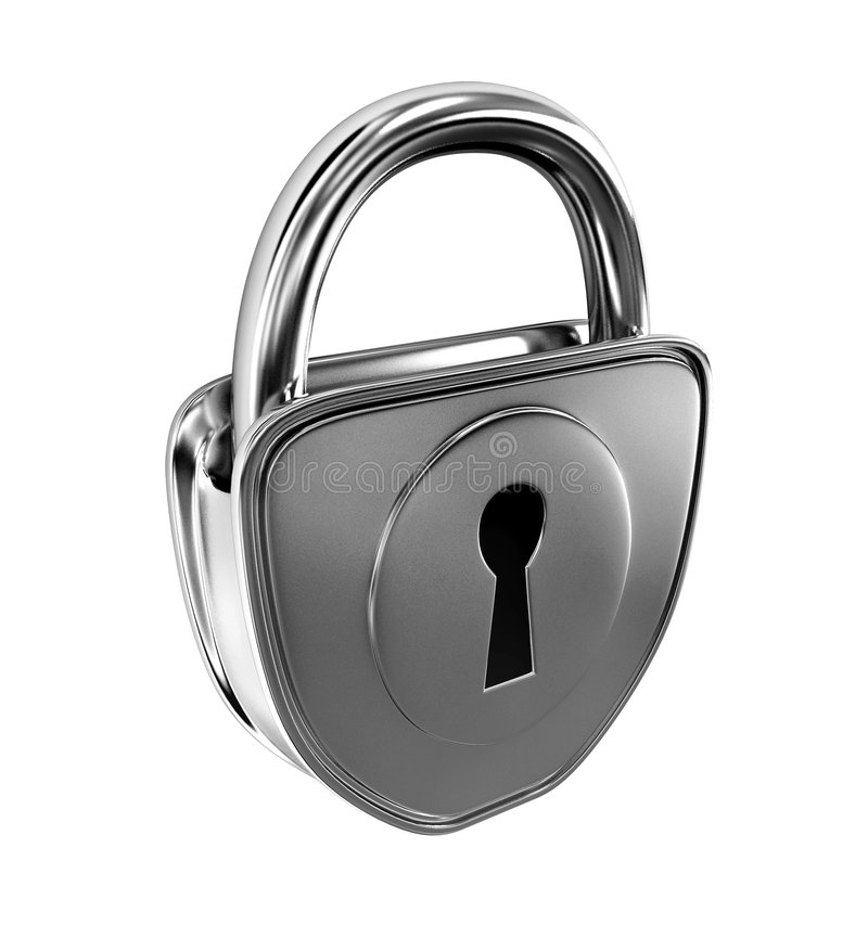 Silver lock isolated vector illustration