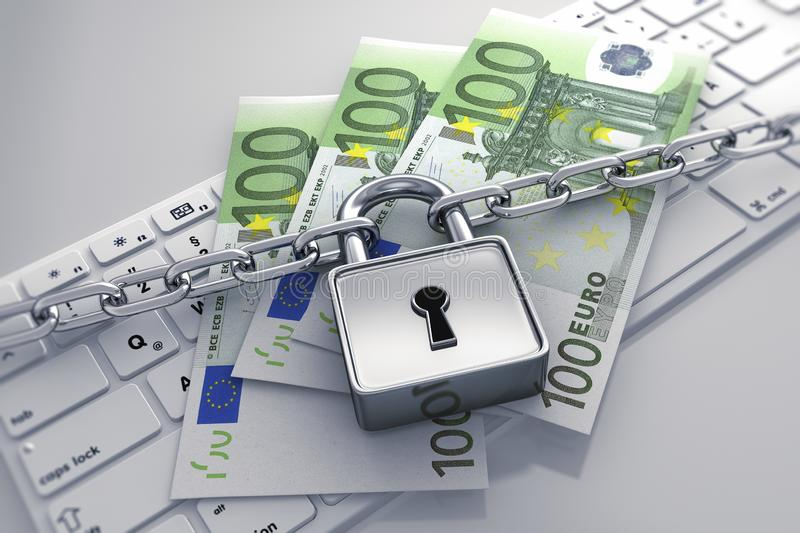 Computer lock and chain - concept security stock illustration